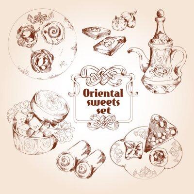 Plakat Zestaw szkic orientalne słodycze