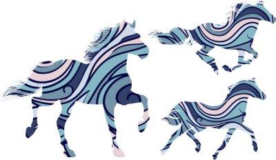 Plakat Zestaw trzech niebieskich wzorzystych sylwetki koni uruchomione