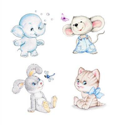 Plakat Zestaw zwierząt: słoni, myszka, kotek, króliczek
