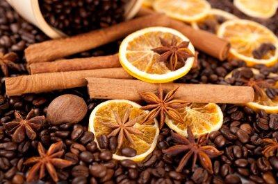 Plakat Ziarna kawy, cynamonu i anyż