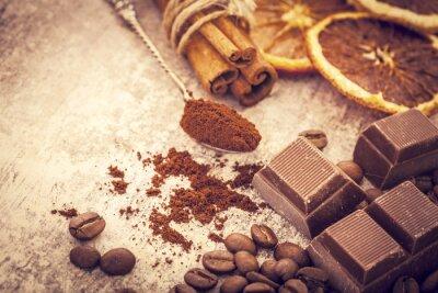 Plakat Ziarna kawy i czekolady