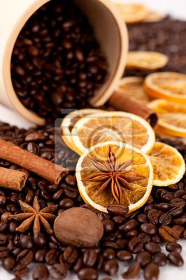 Plakat Ziarna kawy i przypraw