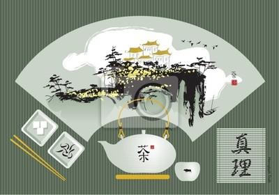 zielona herbata z chińskiej krajobrazu