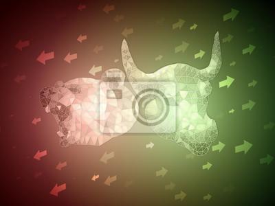 Zielony byk vs Red Bear giełda ilustracja koncepcja ze strzałką w górę iw dół do wskazania nastroju na rynku. Nadaje się do analizy zdjęcia okładki artykułu, gdy sytuacja na rynku jest niejasna.