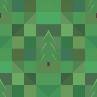 Plakat zielony kwadrat wzór wiele drzew w tle
