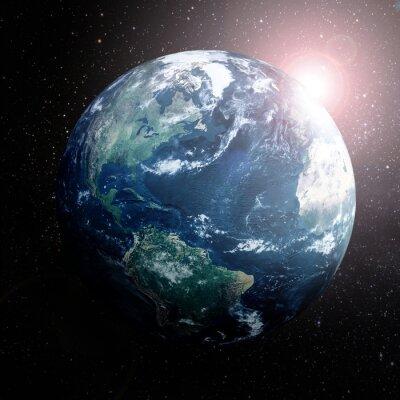 Plakat Ziemia w przestrzeni pokazując Europie, Azji i Afryki