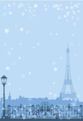 Plakat Zima w Paryżu tła