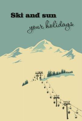 Plakat Zima w tle. Krajobraz górski z wyciągu narciarskiego