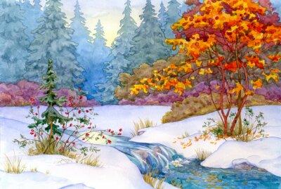 Plakat Zimowy las