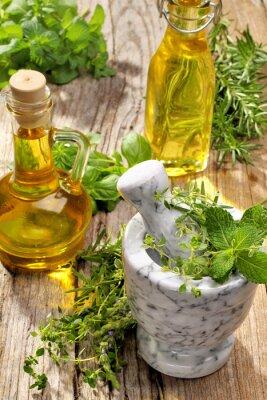 Plakat zioła i olej