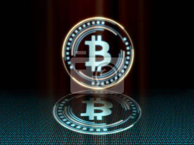 Złoty bitcoin ze świecącym niebieskim kolorem diody dającym poczucie nauki science fiction. Z lustrem odbijają się na niebieskiej podłodze binarnej. Dla waluty kryptograficznej logo, nowoczesna, zgrab