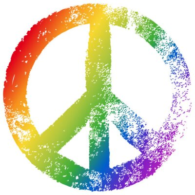 Plakat Znak pokoju, kolory tęczy, wektor, grunge, izolowane