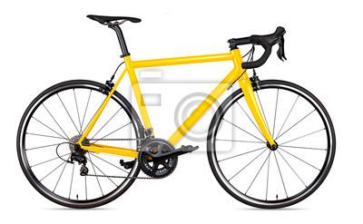 Plakat żółty czarny wyścigi sportowe szosowe rower szosowy na białym tle