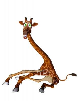 Plakat żyrafa animowany otwarte nogi z boku