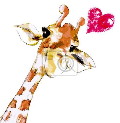 Plakat Żyrafa mit Herz