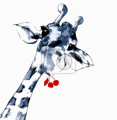 Plakat Żyrafa mit Kirschen