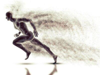 Tapeta 3D mężczyzna rysunek sprint z prędkością skutku