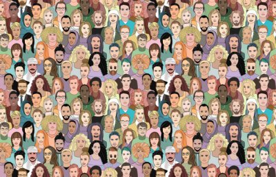 Tapeta A large set of faces of young people of different nationalities. Seamless drawn creative pattern.