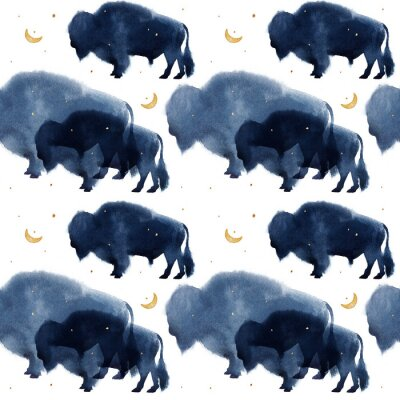 Tapeta A seamless pattern with watercolor realistic bison silhouette on white background