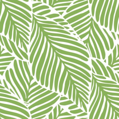 Tapeta Abstract bright green leaf seamless pattern. Exotic plant.