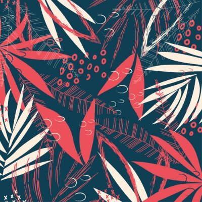 Tapeta Abstract pattern with tropical leaves and plants on a dark geometric background. Vector design. Jungle print. Textiles and printing. Floral background.