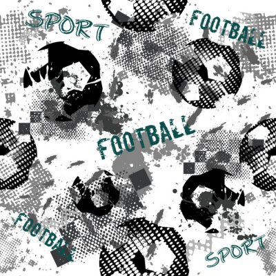 Tapeta Abstract seamless football pattern for boys. Sport football pattern. Grunge sport urban backdrop with football ball. Sport wallpaper on black background with multicolor spots. Repeated pattern.
