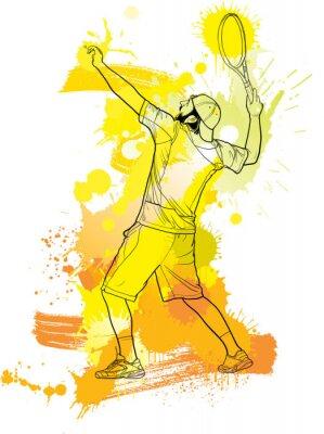 Tapeta Abstrakcjonistyczny gracz w tenisa z kantem od pluśnięcia