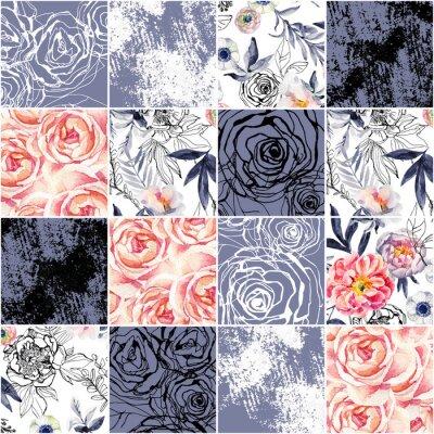 Tapeta Abstrakcyjne kwadraty bez szwu deseń: akwarela, doodle atramentu kwiaty, liście, chwasty.