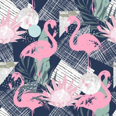 Tapeta Abstrakcyjny wydruk z elementami flamingowymi i losowymi. Bez szwu deseń w stylu retro. Ilustracji wektorowych tropikalnych