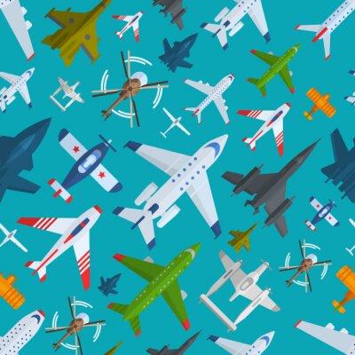 Tapeta Aircraft Plains widok z góry ilustracji wektorowych bez szwu deseń