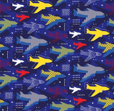 Tapeta Airplanes seamless pattern geometric style design