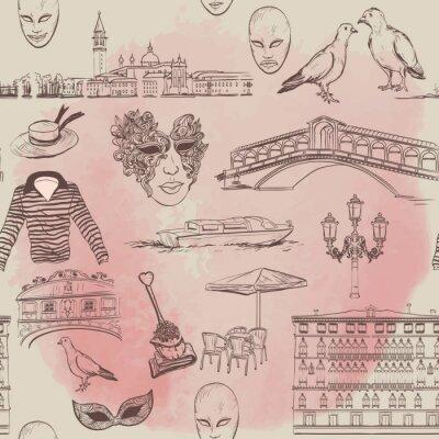 Tapeta Akwarela bezszwowe wzór z Wenecji szkicu