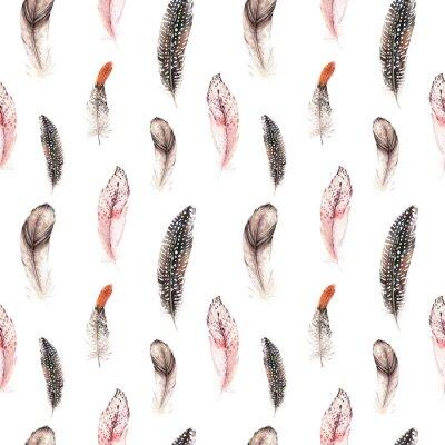 Tapeta Akwarela naturalnych ptaków wtapianie boho wzoru. Bohemian Bez szwu tekstury ręcznie rysowane pióra. Feather boho ilustracji do swojego projektu. Jasne kolory niebieskie dekoracje.