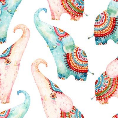 Tapeta Akwarela piękne słonie na białym tle