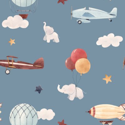 Tapeta Akwarela samolot dziecko wzór