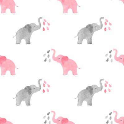 Tapeta Akwarela słodkie słonie wzór. Wektor bez szwu tła dla dzieci.