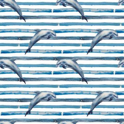 Tapeta Akwarela szwu niebieskie paski i delfiny