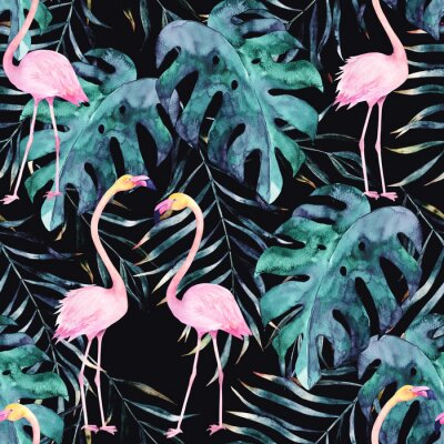 Tapeta Akwarela szwu. Tropikalny wydruk z flamingem. Rysowane rę cznie ilustracji