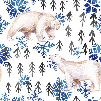 Tapeta Akwarela Zimowych bez szwu deseń z elementów abstrakcyjnych.