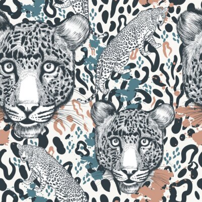 Tapeta Animal vector print with leopard spoty ornament, wallpaper, pattern  ideal ofr textile designs