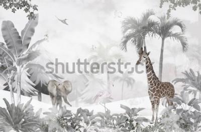 Tapeta animals in the forest children's room wallpaper design