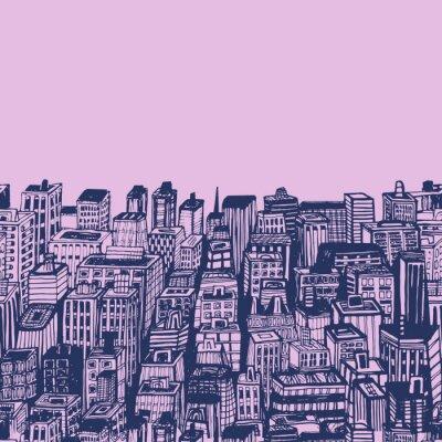 Tapeta Archiwalne ilustracji wyciągnąć rękę dużego miasta