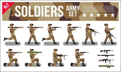 Tapeta Armia Wojskowa Żołnierze Ustaw w Desert Digital Camouflage. Nowoczesne Wojskowe Kolekcja Wektorowe płaskie ilustracji