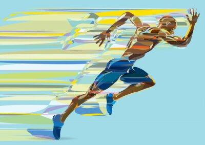 Tapeta Artystyczne stylizowane bieżących człowiek w ruchu.