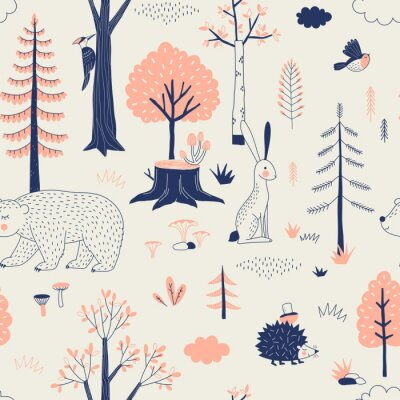 Tapeta Autumn Forest seamless vector pattern. Woody landscape with Hedgehog Bear Hare creatures repeatable background. Woodland childish print in Scandinavian decorative style. Cute forest animal backdrop.
