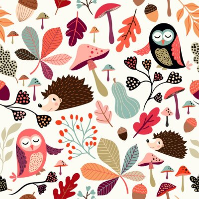 Tapeta Autumn seamless pattern with decorative seasonal elements, cute animals and plants