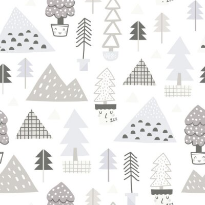 Tapeta Baby seamless pattern - cute forest. Perfect for kids apparel, fabric, textile, nursery decoration, wrapping paper. Scandinavian style.