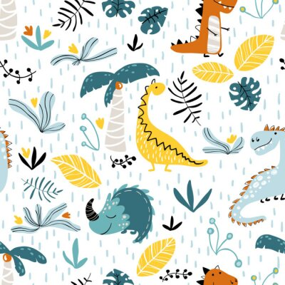 Tapeta Baby seamless pattern with dinosaurs in jungle. Cute Vector Illustration in scandinavian style. Creative childish background for fabric, textile, nursery wallpaper.