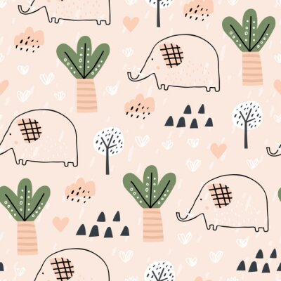 Tapeta Baby seamless pattern with tropical forest and elephant. Perfect for kids fabric, textile, nursery wallpaper. Pink background. Seamless landscape. Scandinavian style
