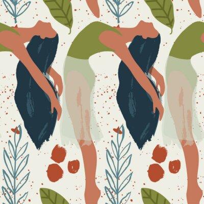 Tapeta Ballet dancer girl seamless pattern. Abstract vector illustration. Flat and Hand drawn brush ink textured art.